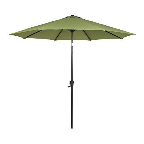 Ulax Furniture 9 Ft Outdoor Umbrella Patio Market Umbrella Aluminum with Push Button Tilt&Crank, Sunbrella Fabric, Spectrum Cilantro