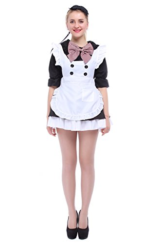 Victoria Halloween Costumes (Nuoqi Sweet Lolita Dress Anime Maidservant Outfits Cosplay Costumes Black CC222G-XL)