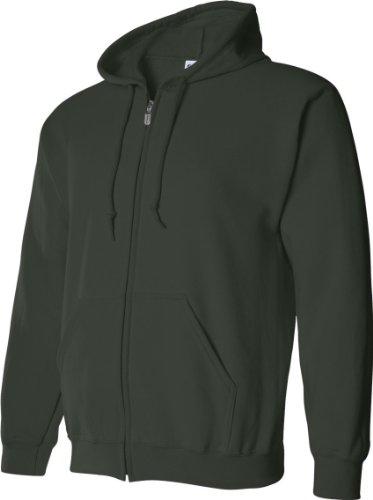 Gildan - Sudadera con cremallera y capucha Modelo Blend Unisex - Deporte/Gimnasio/Running verde bosque