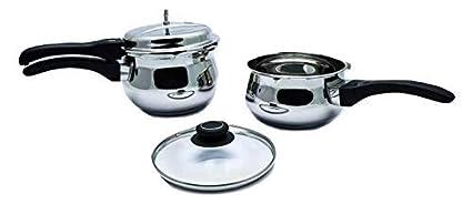 KenCook 3.5 Liter + 2.5 Liter Stainless Steel Combi Pack Handi Pressure Cooker (Induction Based)