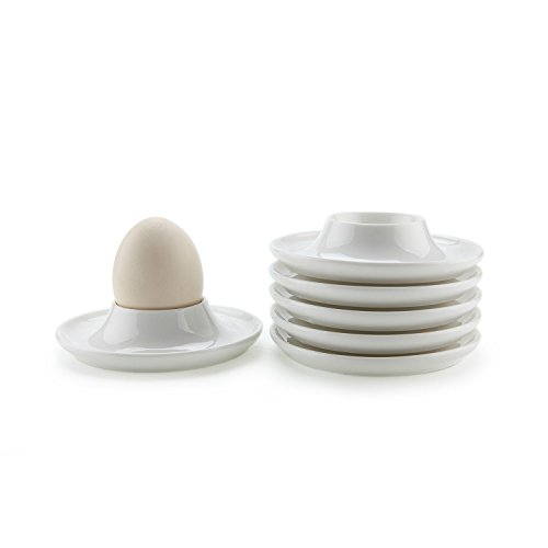 (ComSaf Porcelain Egg Cups Plates with Base, Soft Boiled Egg Cup Holders White, Pack of 6)