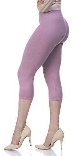 Extra Soft Capri Leggings with High Wast - 20 Colors - Plus (One Size, Cali Lily)