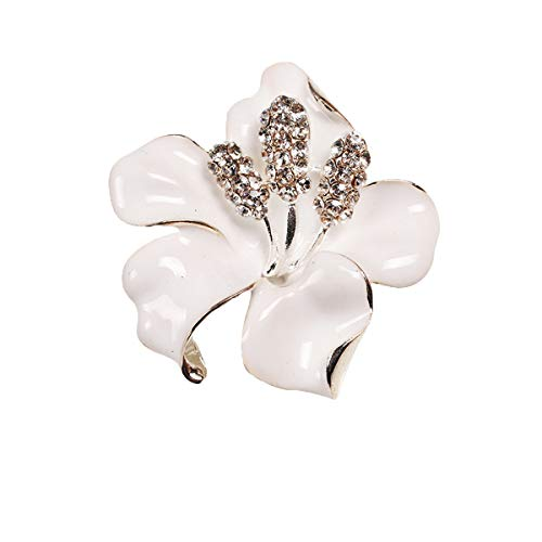 seven wolves Lily Flower Brooch Pin Fashion Crystal Corsage for Women in Bouquet Wedding, White (Pin Brooch Lily)