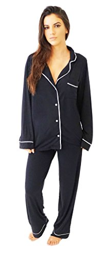 Barefoot Dreams Women's Luxe Milk Jersey Piped Pajama Set, Black Pearl, Large by Barefoot Dreams