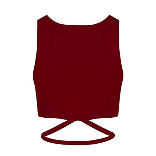 - Sunhusing Women's Solid Color Round Neck Sleeveless Sports Vest Cross Strappy Lace-Up Top T-Shirt Wine Red