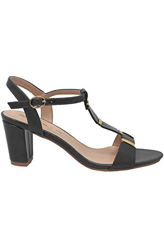 SAPPHIRE BOUTIQUE JLH848 Julia Womens Gold Trim T-Strap Sling Back Strap Block Heeled Sandals Grey X15FOsq8r