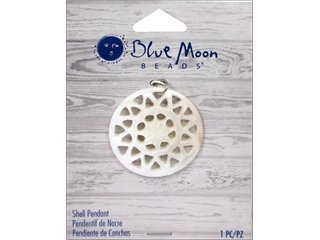 Blue Moon Beads ZP-001-00087 Round Shell Pendant with Cut Out, Natural