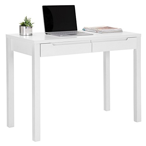 Wooden Office Desk Simple For Songmics Simple Wooden Writing Desk Home Office Computer Study With Sliding Drawers Large Size Workstation White Ulod01wt