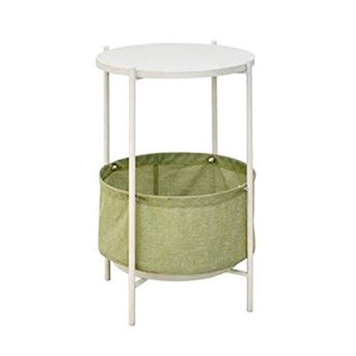 Coffee Table Storage Basket Multifunctional Solid Wood Round Coffee Table Double Sofa Side Table Fabric Storage Box Telephone Cabinet, Φ39cm H55cm (Color : Green)