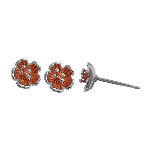 Boma Jewelry Sterling Silver Flower Studs with 18kt. Rose Gold Washed Sterling Silver