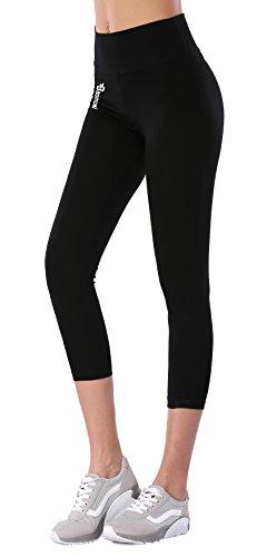 BAOMOSI Women's Workout Active Ankle Legging Reflex Power Flex Yoga Pants Black XL