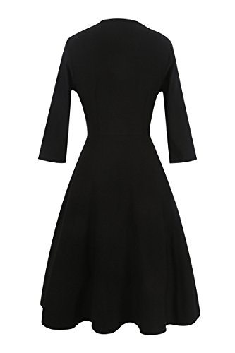 Polka Women Sleeve s long YMING Retro Dress Dress Dot Rockabilly 50S Pinup Dress Black Vintage 8Adf1xqw