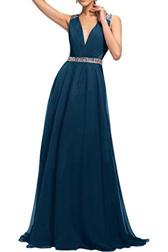 Ivydressing Chiffon Damen Applikation Promkleid Blaugruen Spitze Abendkleid Festkleid Schulter Ein XTXwdqRr