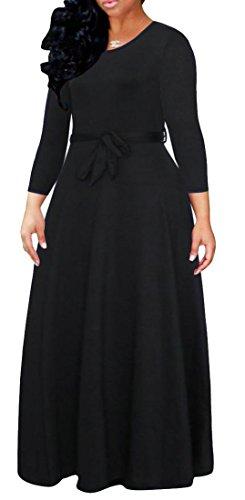 Grand Tang Manches Longues Solide Élégant Féminin Ceinturée Balançoire Robe Maxi Noir