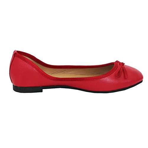 AalarDom Women's Round Closed Toe PU Flats-Shoes with Bowknot Red VRr347AjFq