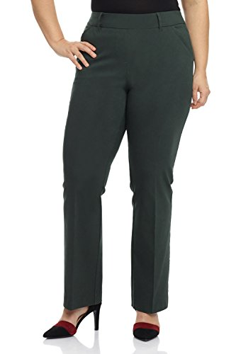 Rekucci Curvy Woman Ease in to Comfort Fit Barely Bootcut Plus Size Pant (14W,Spruce)