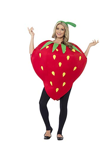 Smiffys Adult Unisex Strawberry Costume, Printed Tabard and Headpiece, Funny Side, Serious Fun, One Size, 43406 -