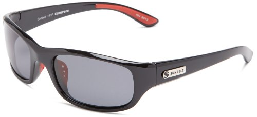 Sunbelt Camarone 141 Polarized Rectangular Sunglasses,Black & Red Rubber Tips,56 mm (Sunglasses Sunbelt)