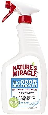 Nature's Miracle 3-in-1 Odor Destroyer, Ultimate Pet Odor Eliminator, Fresh Linen Scent, 7