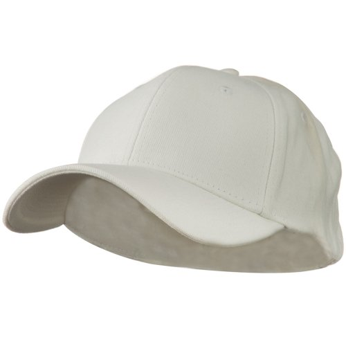 Stretch Heavy Weight Brushed Cotton Fitted Cap - White L-XL