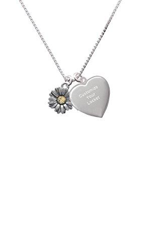 Delight Jewelry Two Tone Daisy Flower Custom Engraved Heart Locket Necklace