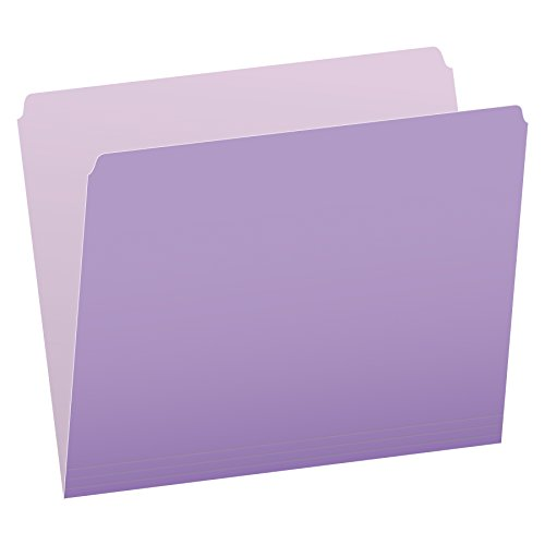 Pendaflex Two-Tone Color File Folders, Letter Size, Lavender, Straight Cut, 100/BX (152 LAV)