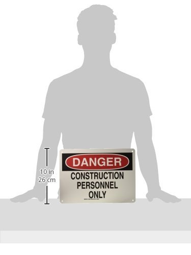 14 Width LegendConstruction Personnel Only 10 Height Black and Red on White Brady 126879 Construction Site Sign