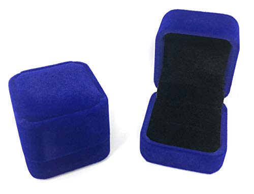 Rusoji Set of 2 Classic Velvet Ring Box Earring Jewelry Gift Case for Engagement, Wedding, Royal Blue 2 Ring Wedding Set