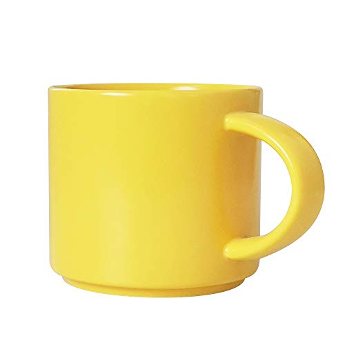 J-FAMILY Stackable Coffee Mug Tea Mug,Ceramic Coffee Cup for Barista to Make Specialty Coffee Like Latte and Cappuccino,Semi Matte Yellow,13.5oz