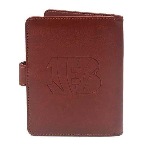 CHNNFC NFL Premium Brown Leather Laser Carving Travel Wallet (Cincinnati Bengals)