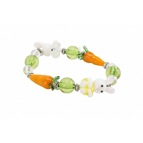CGB Giftware Childrens/Girls Easter Bunny Glass Bracelet (One Size) (White)