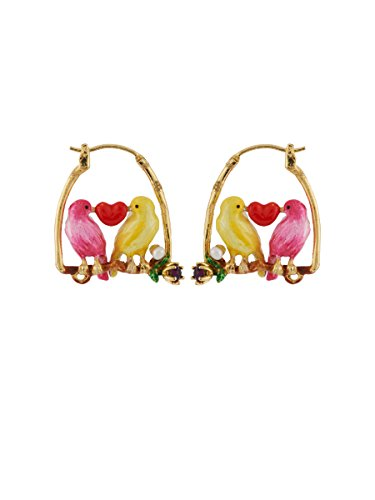 Les Néréides Lovely Canaries Couple of Birds on The Perch of Love Earrings - Pink by Les Néréides