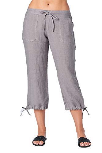 Mariyaab Women's Wide Leg Casual 100% Linen Capri Pants with Drawstring and Leg tie (1411, CharcoalGray, 10)