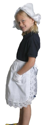 Deluxe Lace Deluxe Victorian Maid Costume Girls Half White Apron with Pockets (Victorian Girls Costume)
