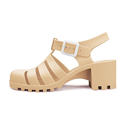 Beige Jelly Sandals Low Strap Heel Wedge Top Platform Shoes Women's Upper Adjustable APRIL Chemistry YwqExAOTS