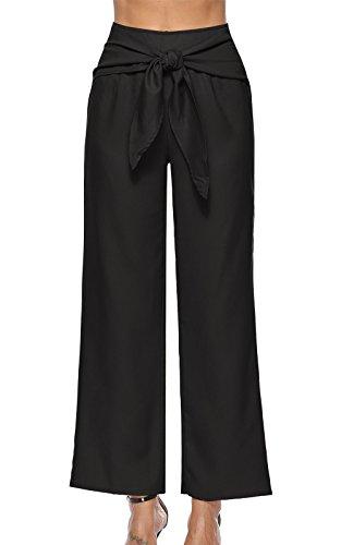 OUFour Donna Gamba Larga Pantalone a Vita Alta Pants con Bende Casual Baggy Tinta Unita Lungo Pantaloni da Spiaggia Nero
