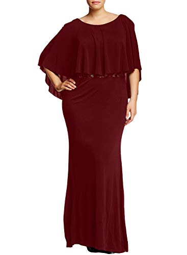 (Diukia Women's Plus Size Elegant Lace Solid Long Short Sleeve Sexy Evening Party Bodycon Maxi Dress(XL-5XL))