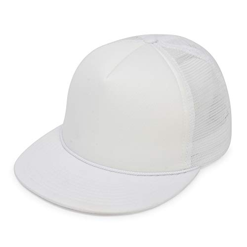 Flat Billed Trucker Cap with Mesh Back in White