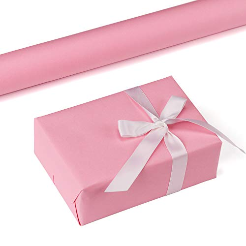 RUSPEPA Pink Kraft Wrapping Paper - 47.8 Sq Ft Heavyweight Paper for Wedding,Birthday, Shower, Congrats, and Holiday Gifts - 17.5Inch X 32.8Feet Per Roll]()