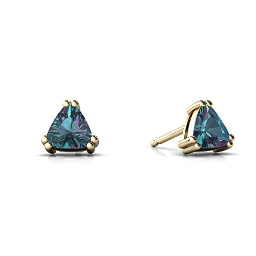 14kt Yellow Gold Lab Alexandrite 5mm Trillion Trillion Stud Earrings (14kt Alexandrite Ring)