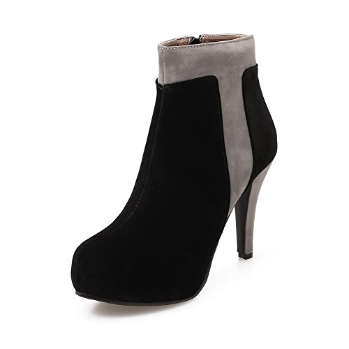 VogueZone009 Women's Round Closed Toe High-Heels Frosted Low-top Assorted Color Boots, Black, 39 ()