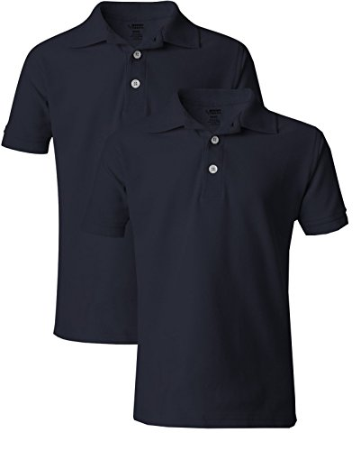 French Toast Boy's 2 Pack Uniform Short Sleeve Polo Shirts 10/12 Navy