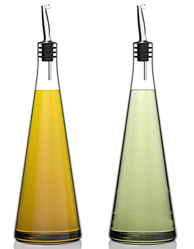 Venero Olive Oil Dispensers 19 oz, Set of 2 Glass Bottles, Stainless Steel...