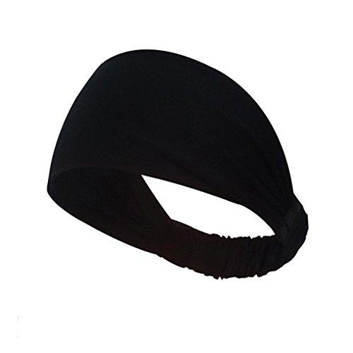 (Syban Women Cotton Knotted Turban Head Warp Hair Band Wide Elastic Headband Sport Yoga (Black))