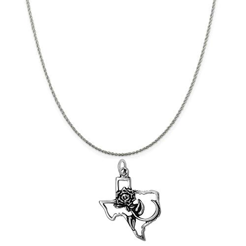 - Raposa Elegance Sterling Silver The Rose of Texas Map Charm on a 16