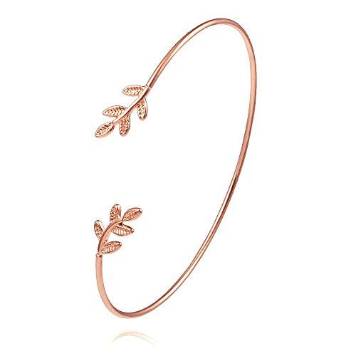 NOUMANDA Olive Leaf Branch Wire Bangle Adjustable Open Cuff Bracelet for Women (Rose Gold)