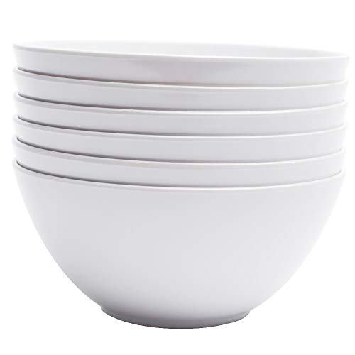 real Bowls - 28oz White Dinnerware Soup Bowls Set, Pack of 6 ()