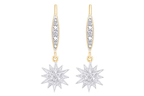 Aria Jewels Diamond Accent Starburst Drop Dangle Earrings in 14K Yellow Gold Over Sterling Silver for Women (1/20cttw)