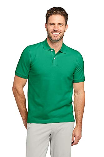 - Lands' End Men's Big & Tall Short Sleeve Comfort First Solid Mesh Polo, L, Bright Clover