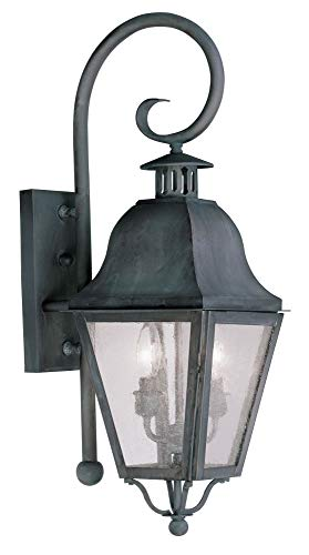 Livex Lighting 2551-61 Amwell - Two Light Outdoor Wall Lantern, Charcoal Finish with Seeded Glass